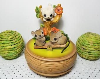 "Vintage Music Box, Josef GG Originals, plays ""Sunrise, Sunset."" Cat / kitten in tree watches two nice go up & down on seesaw. Made in Japan."