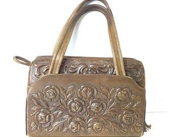 Vintage Weathered Tooled Leather Roses and Medallion Handbag