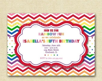 20% OFF SALE Rainbow Chevron Birthday Invite - Rainbow Colors - PRINTABLE Invitation Design