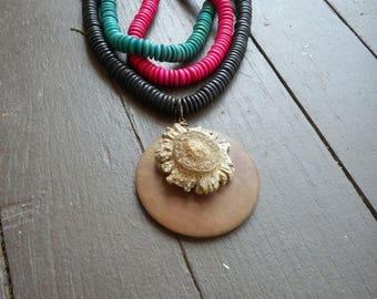 SALE The Wildwood Necklace. Genuine Deer Antler Burr & Rustic 3 strand wood beaded necklace in Hot pink, teal and black OOak