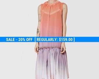 Pink, orange, purple rainbow color midi dress, romantic bridesmaids dress, evening gown, oversize dress, sexy dress