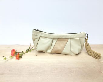 Cream Leather clutch makeup bag zippered pouch