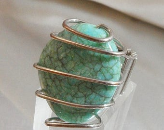 SALE Vintage Large Aqua Stone Ring. Turquoise. Silver Wire Adjustable Ring.  Natural Stone Ring.