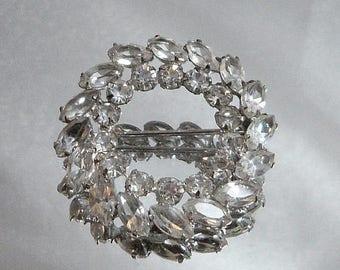 SALE Vintage Sterling Silver Rhinestone Brooch. Carl Art Silver Clear Rhinestone Pin.