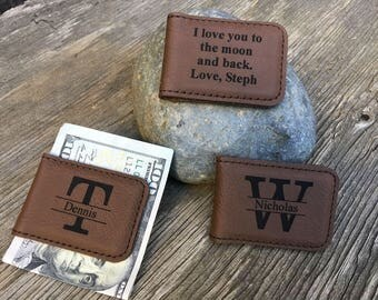 Custom Leather Money Clips, Personalized Boyfriend Gift, Husband Gift, Father's Day Gift, Christmas Gift, Gift for Dads, Brown Magnetic