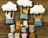 interactive decorative toy: cloud with bucket and wool felt finger puppet- by kata golda