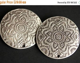 BACK to SCHOOL SALE Two (2) Viking Brooches. Stamped Norse Brooch Set. Silver Apron Pins. Summer Mandala Shoulder Brooches. Viking Jewelry.