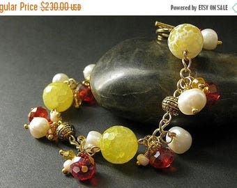 BACK to SCHOOL SALE Gemstone Bracelet in Lemon Agate, Citrine Crystals and Fresh Water Pearl - Limited Edition. Handmade Bracelet.