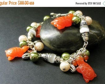 BACK to SCHOOL SALE Tortoise Bracelet. Charm Bracelet with Cats Eye Turtles, Carnelian Agate and Pearls. Handmade Bracelet.