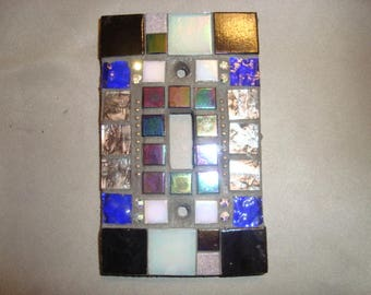 MOSAIC Light Switch Plate -  Wall Plate, Single Switch, Black, Gold, Silver, Cobalt Blue