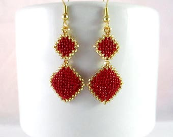 Red Diamond Dangle Earrings