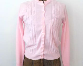 Vintage Pink Cardigan Sweater • Vintage Acrylic Sweater • Vintage Made in Republic of Korea Sweater