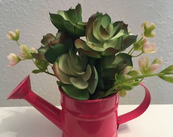Mini Faux Succulents in Watering Can