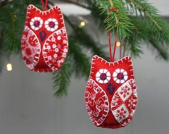 Owl ornaments, Bird Christmas ornaments, Handmade felt owl ornaments, Red and white owl decorations, Scandinavian Christmas ornaments.