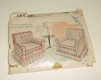 Uncut vintage 1955 McCall's Lawson Chair Slip Cover Pattern 1966 • boxed pleated or plain skirt