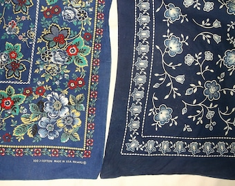 2 Vintage Blue floral print Bandannas • made in U.S.A. bandana lot • poly / cotton