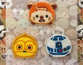 Tsum Tsum Patch, Embroidered Iron On Patch, Star Wars, Wicket, C-3PO, R2-D2, Iron on Applique, Kawaii Disney Embroidery Applique, W408