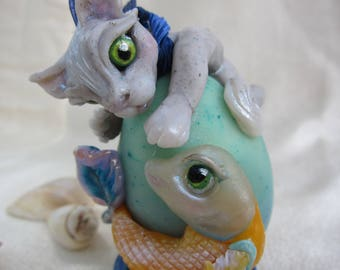 Cat Sculpture - Ornament - Gray Cat Fishing Kitty - Koi Fish - Whimsical Art- Blue Orange Summer Art- Beach Decor -  Ocean - Under the Sea