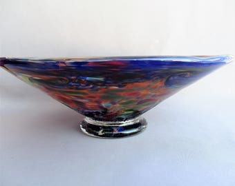 Hand Blown Art Glass  Candy, Fruit,Nut Bowl, Blue Multicolored