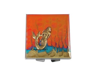 Mermaid Square Pill Box Hand Painted Enamel Orange and Turquoise with Custom Colors and Personalized Options