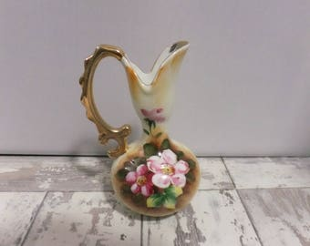 Vintage Hand Painted Pitcher Pink Flowers Gold Trim Porcelain Enesco Japan E2350 Floral Decorative Vase Collectible