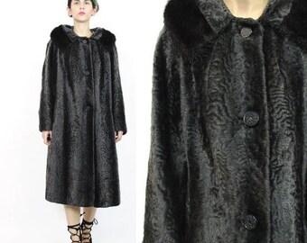 25% off Summer SALE 1960s Persian Lamb Wool Coat Vintage 60s Fur Coat Brown Faux Fur Coat Winter Sheared Real Mink Fur Collar Chocolate Brow