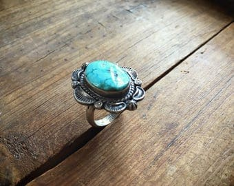 Navajo Thomas Francisco sterling silver ring turquoise Size 9.5 Native American Indian jewelry