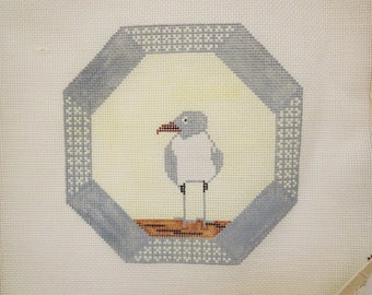 Sea Tern with Portal Design, Hand Painted Needlepoint Canvas