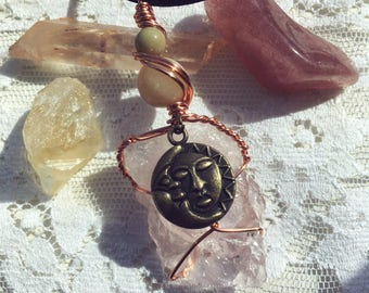 Rose Quartz Sun and Moon Wire Wrapped Pendant Necklace