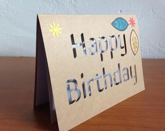 Happy Birthday kraft paper cut out card