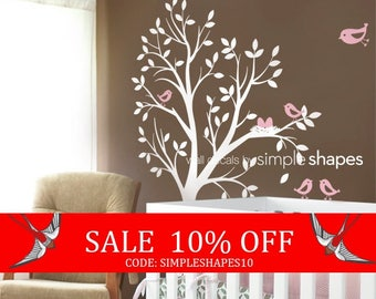 Summer Sale - Kids Wall Decal - THE ORIGINAL Tree with Birds and Nest
