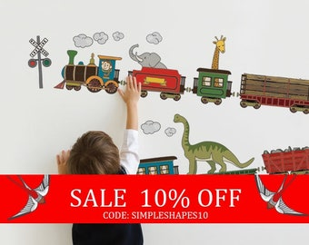 Summer Sale - Animal Train - Peel and Stick Wall Sticker
