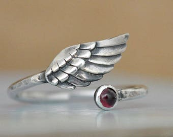 SILVER WING RING, sterling silver winged ring, adjustable wing ring, angelic, feather ring, red  garnet silver ring