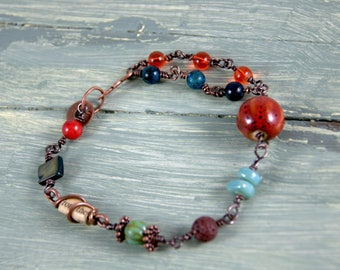 Multi Bead And Copper Wire Bracelet, Boho chic, ceramic beads, glass beads, lava beads, paper bead,