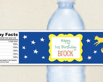 Goodnight Moon Party - Picture Frame, Cow Jumping Over The Moon - 100% waterproof personalized water bottle labels