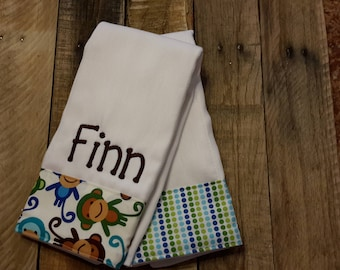 Monkey burp cloth set/personalized boy burp cloth/baby shower gift