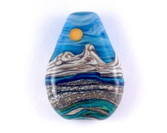 The Mountain - Handmade Lampwork Glass Bead Landscape Focal