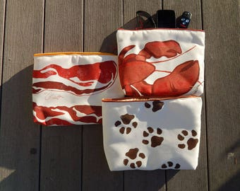 """EVEN MORE EVERYTHING Bags bacon and eggs lobster dog footprints paws hand painted zippered tablet case cosmetic makeup painted 9""""x12""""x2.5"""""""