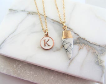 Layering Necklace,Personalized Letter Necklace,Marble Triangle,Letter Necklace,Gift for Her,White Marble Necklace,Bridesmaids Gifts