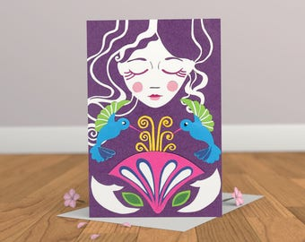Girl & Hummingbirds Card- Bird Card- Nature Card- Fashion Card- Art Noveau Card