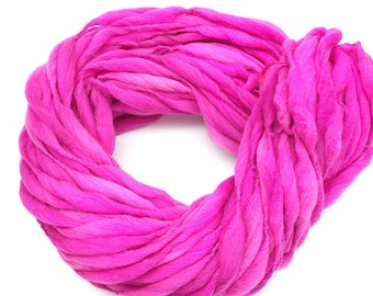 Super bulky handspun yarn, spun thick and thin in hand dyed merino wool - 50 yards, 3 ounces/85 grams