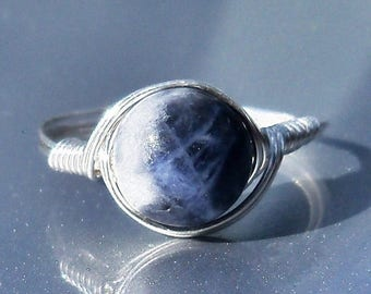 25% Off Sale LG Sodalite Argentium Sterling Silver Wire Wrapped Ring