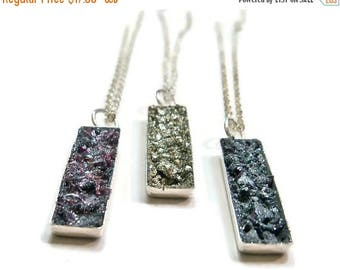 25% Off Sale Crushed Stone Druzy Rectangle Sterling Silver Necklace