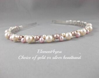 Bridal Pearl Tiara, Pearl Headband, Swarovski Ivory Champagne Pink Pearls Clusters, Beaded Hairband, Wedding Hair Accessories