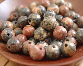15 inch strand 6mm Round Leopard Skin Jasper Beads