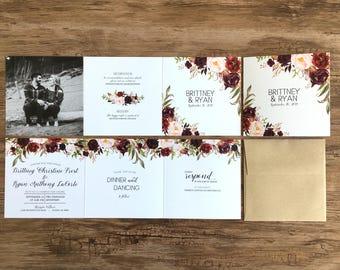 Fall Floral Wedding Invitation Suite · Tri-Fold Watercolor Invitations - All in One Wedding Photo Wedding Invitations · Burgundy  (214)