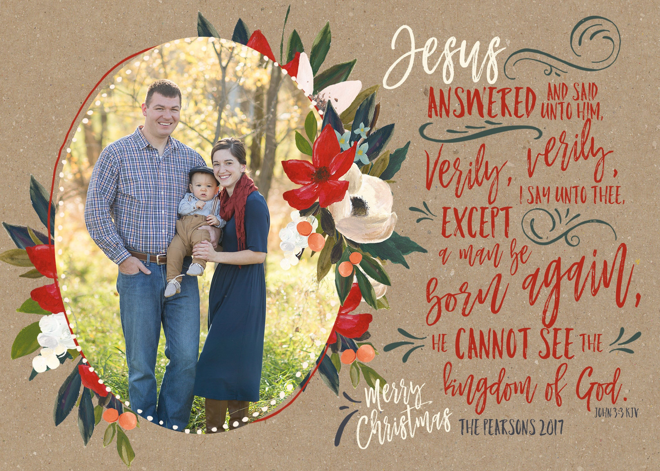 John 33 christian christmas cards watercolor floral bible verse john 33 christian christmas cards watercolor floral bible verse christmas card faux kristyandbryce Gallery