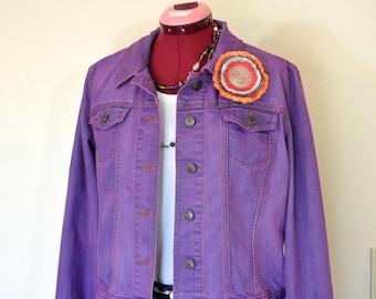 """Violet Large Denim JACKET - Fuchsia Purple Pink Dyed Upcycled Gap Cotton Denim Trucker Jacket - Adult Women Sz Large (44"""" chest)"""