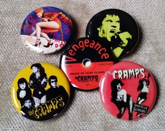 """THE CRAMPS 5-1.25"""" button set, pin back, Lux Interior, Poison Ivy pin, Magnet"""
