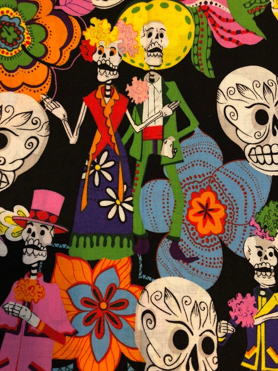 Day of the dead halloween sugar skulls fabric black by viva il570xn m4hsunfo